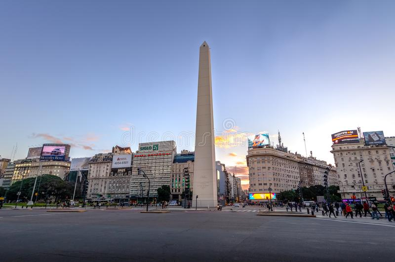 Buenos Aires Obelisk at Plaza de la Republica at sunset - Buenos Aires, Argentina stock photography