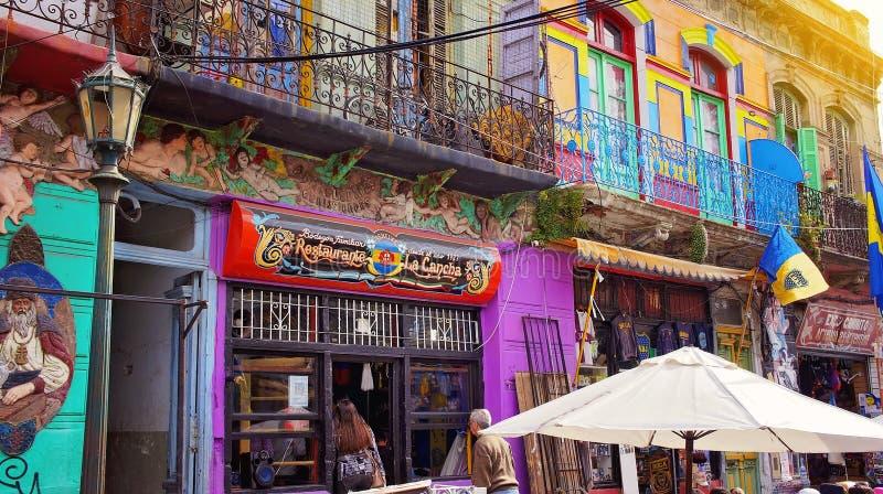 Buenos Aires område för gränsmärkeEl Caminito fotografering för bildbyråer