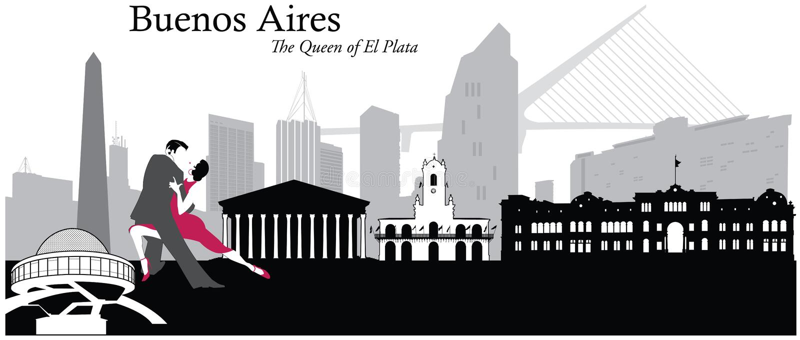 Buenos Aires pejzażu miejskiego linii horyzontu ilustracja royalty ilustracja