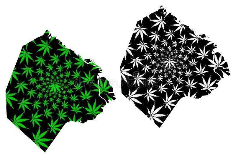 Buenos Aires region Argentyna, Argentyńska republiki mapa jest marihuana liścia zielenią czernią i, Autonomiczny miasto Buenos ilustracji