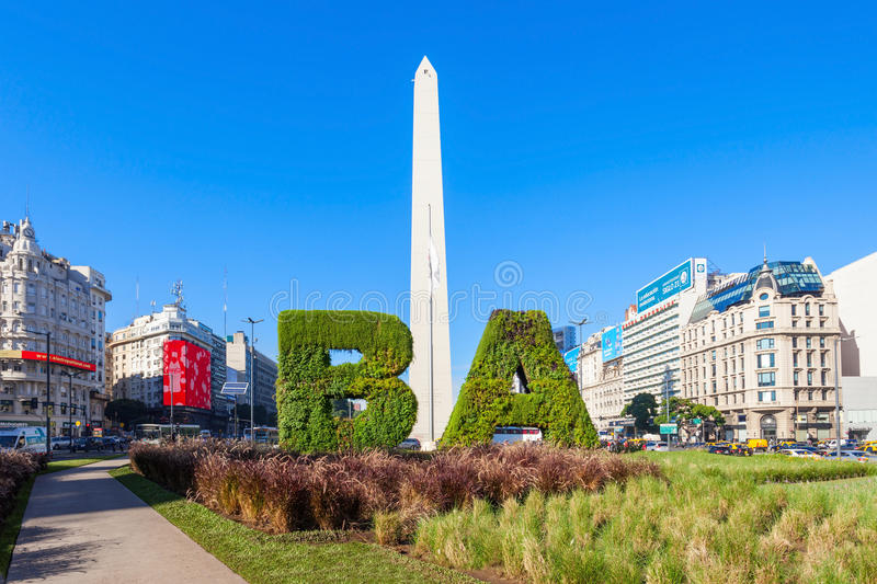 Buenos Aires sign and Obelisco stock photography
