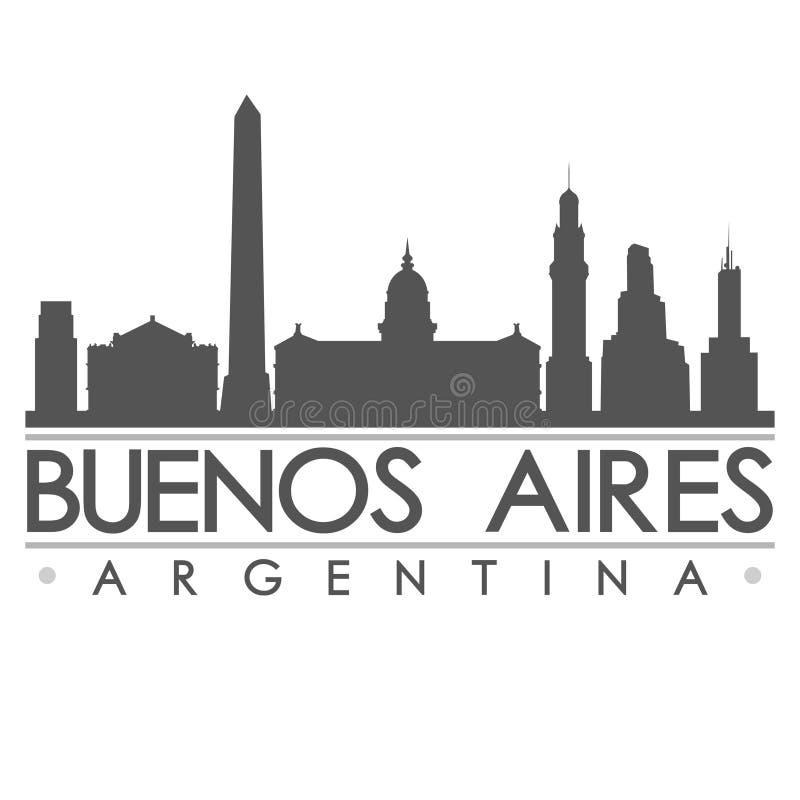 Buenos Aires Skyline Silhouette Design City Vector Art stock illustration