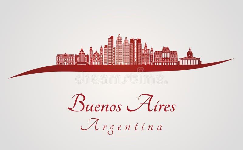 Buenos Aires V2 horisont i rött stock illustrationer