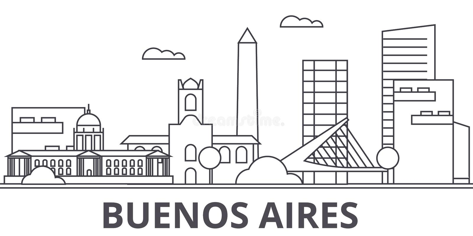 Buenos Airos architecture line skyline illustration. Linear cityscape with famous landmarks, city sights, design icons royalty free illustration