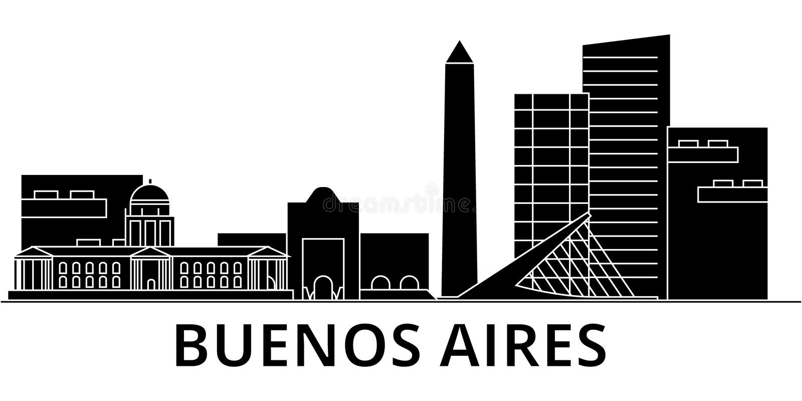 Buenos Airos architecture vector city skyline, travel cityscape with landmarks, buildings, isolated sights on background royalty free illustration