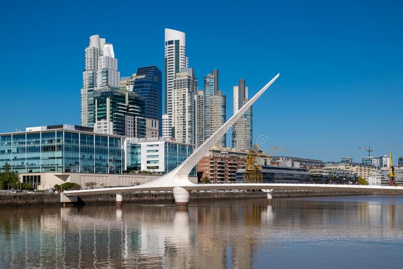 The Waterfront Puerto Madero with the Puente de la Mujer suspension bridge in Buenos Aires, Argentina, South America royalty free stock photo