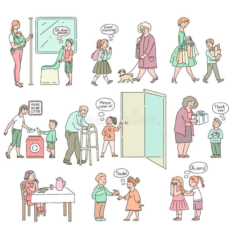 Buenos comportamiento del vector y maneras del sistema de los niños stock de ilustración