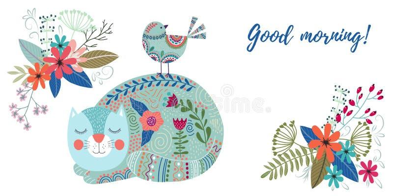Buenos días Ejemplo colorido del vector del arte con el gato, el pájaro y los ramos lindos de flores en un fondo blanco stock de ilustración