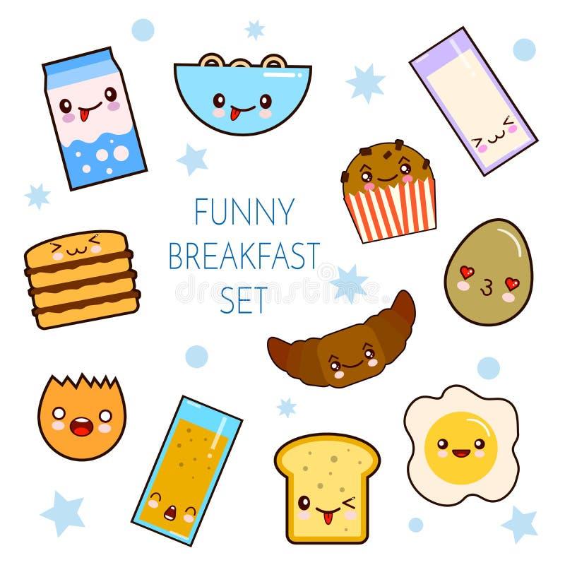 Buenos días La colección divertida del vector del desayuno de los caracteres tuesta el pan, leche, huevo frito Sistema de la comi stock de ilustración