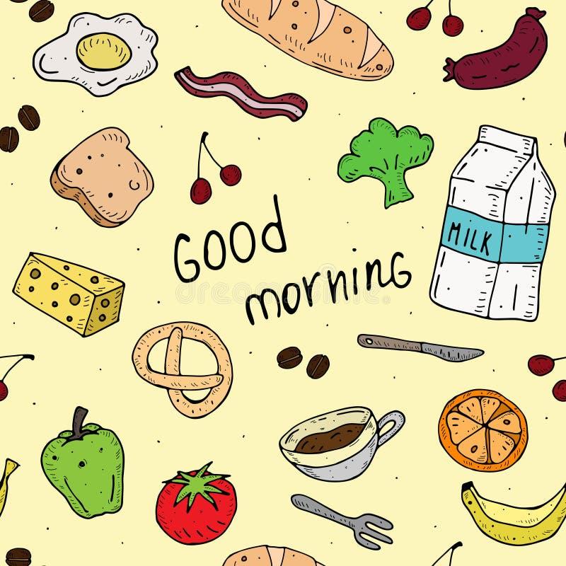 Buenos d?as Modelo inconsútil del vector de la historieta con la comida para el desayuno stock de ilustración