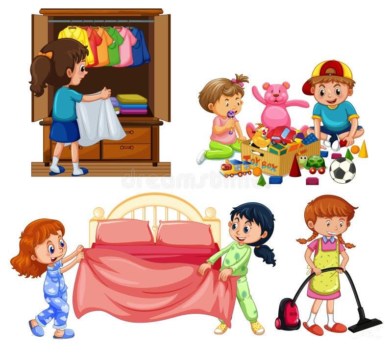 Buenos niños que hacen el quehacer doméstico en el fondo blanco stock de ilustración