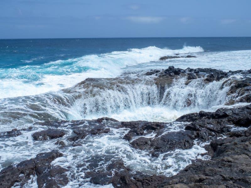 Bufadero de la Garita, Gran Canaria island. Gran Canaria/Spain - August 15 2019: Bufadero de la Garita is a natural rock formation near the town of La Garita royalty free stock image