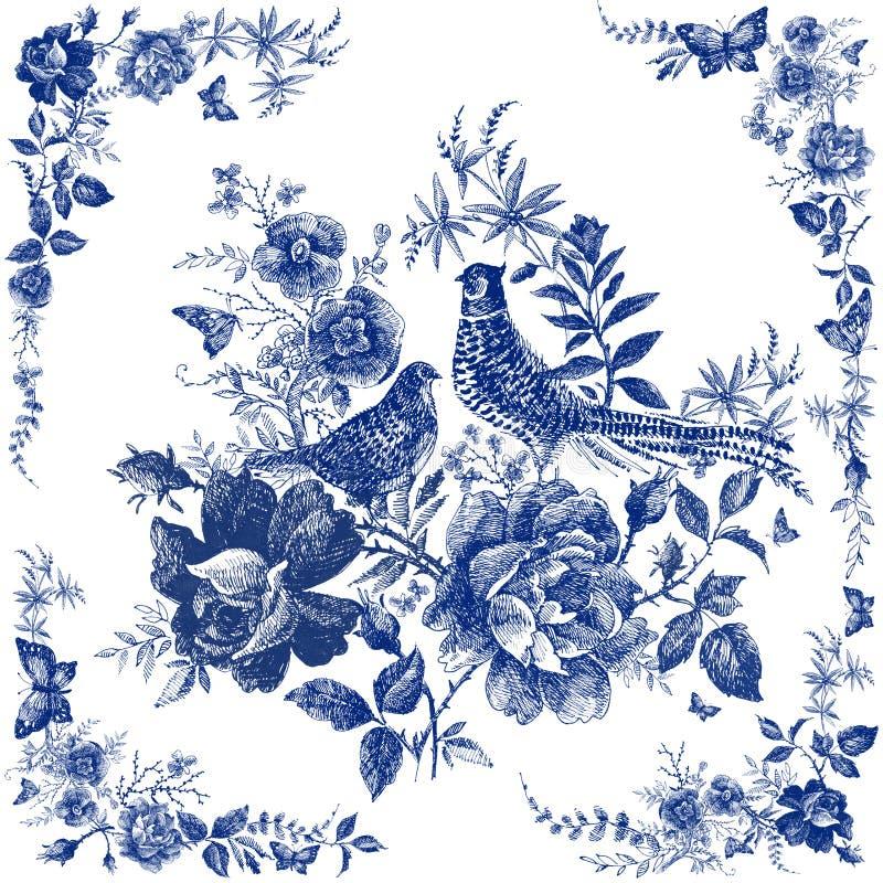 Bufanda de seda con el animal floral y salvaje Ejemplo del faisán Mantón del diseño del vintage con las rosas Bosque del cuento d stock de ilustración