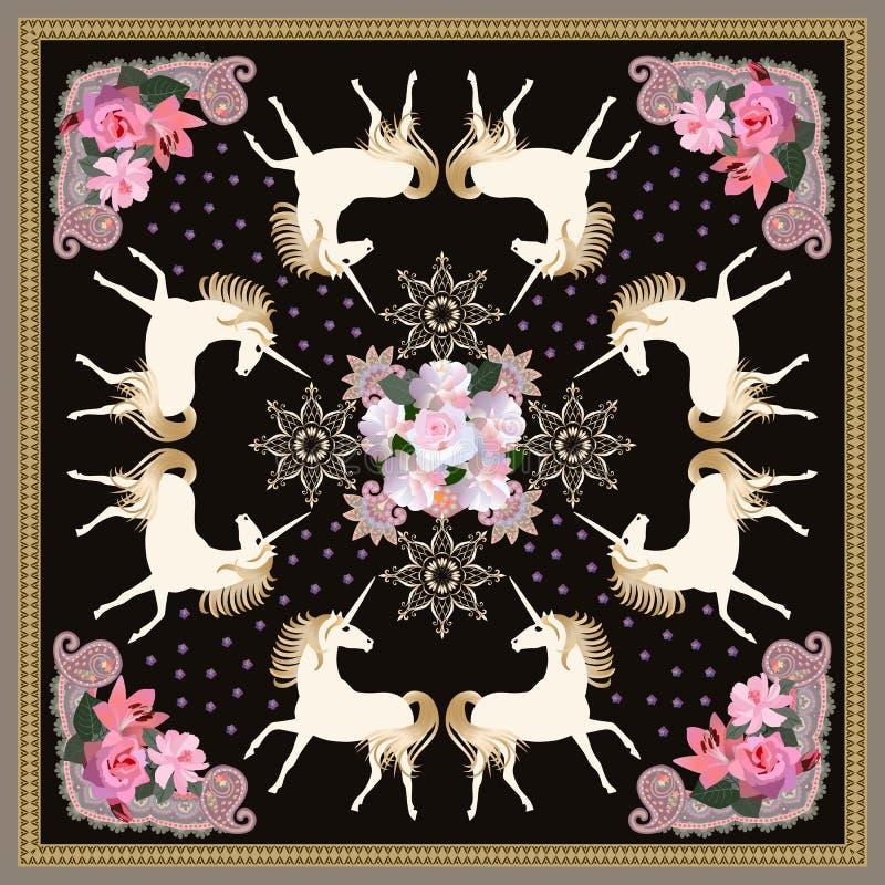 Bufanda de seda hermosa con unicornios mágicos, la flor de oro de la mandala y el ornamento floral apacible en fondo negro en vec libre illustration