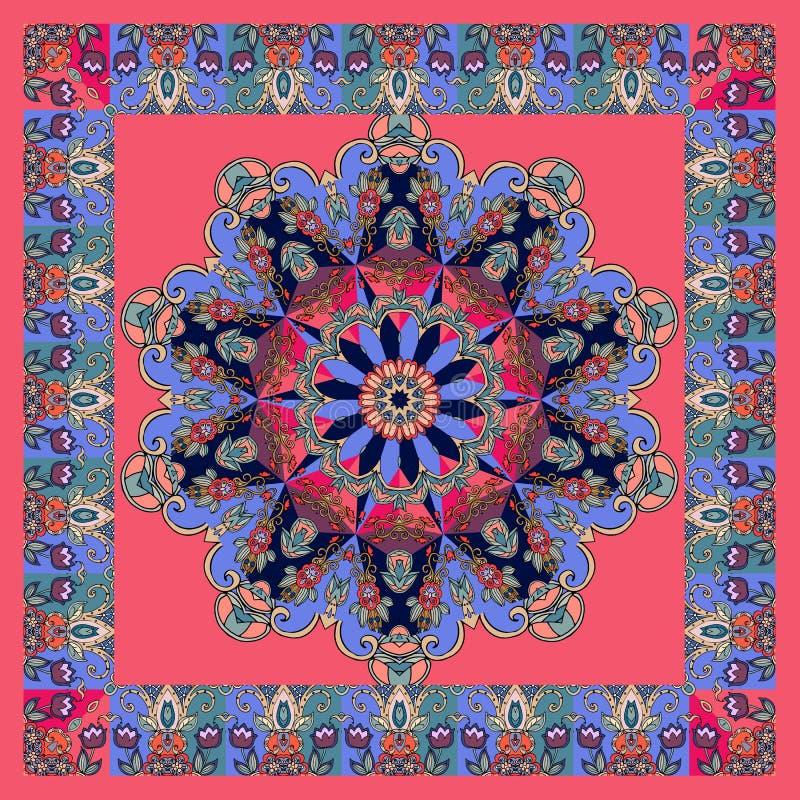 Bufanda de seda de lujo o alfombra cuadrada en estilo étnico con la mandala hermosa de la flor y la frontera floral apacible libre illustration