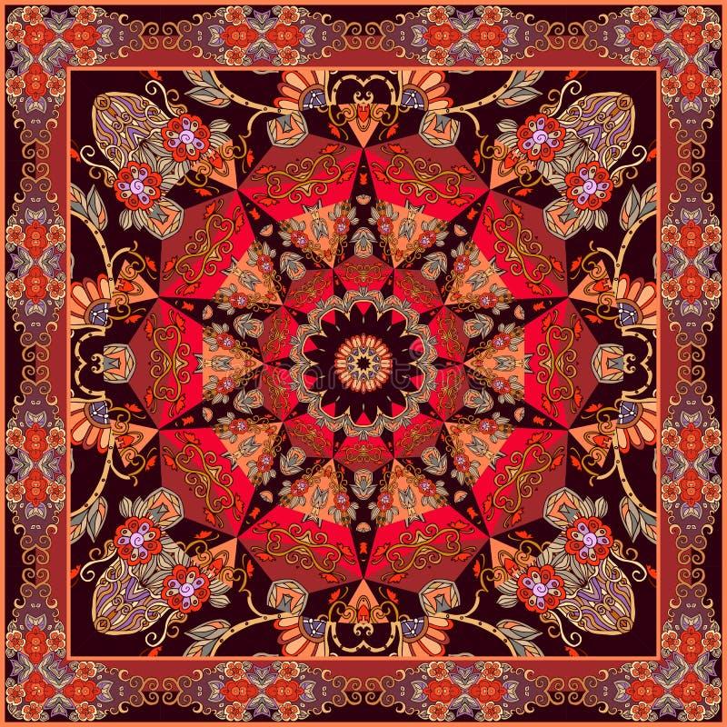 Bufanda de seda o alfombra cuadrada en estilo oriental con la mandala - estrella y frontera floral ornamental ilustración del vector