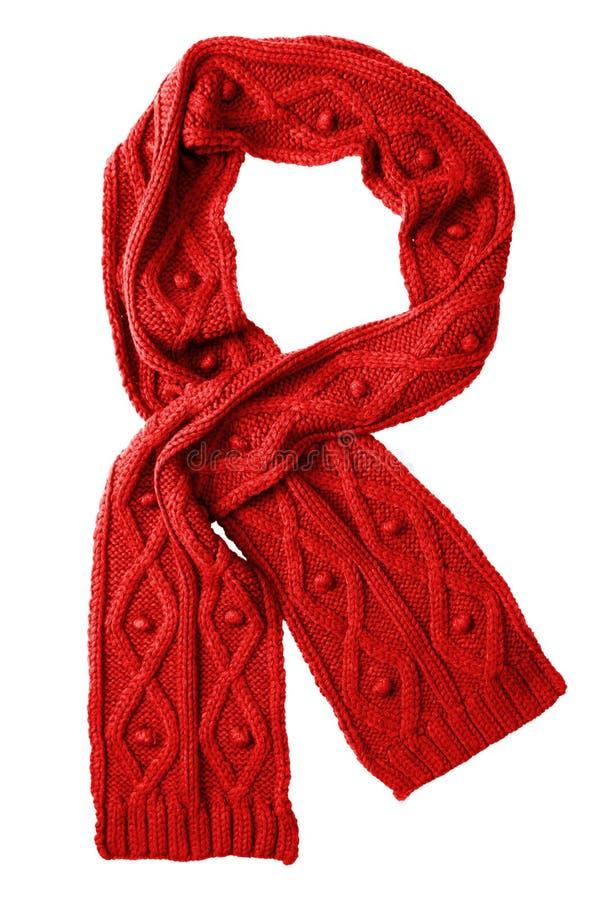 Bufanda del rojo de las lanas fotos de archivo