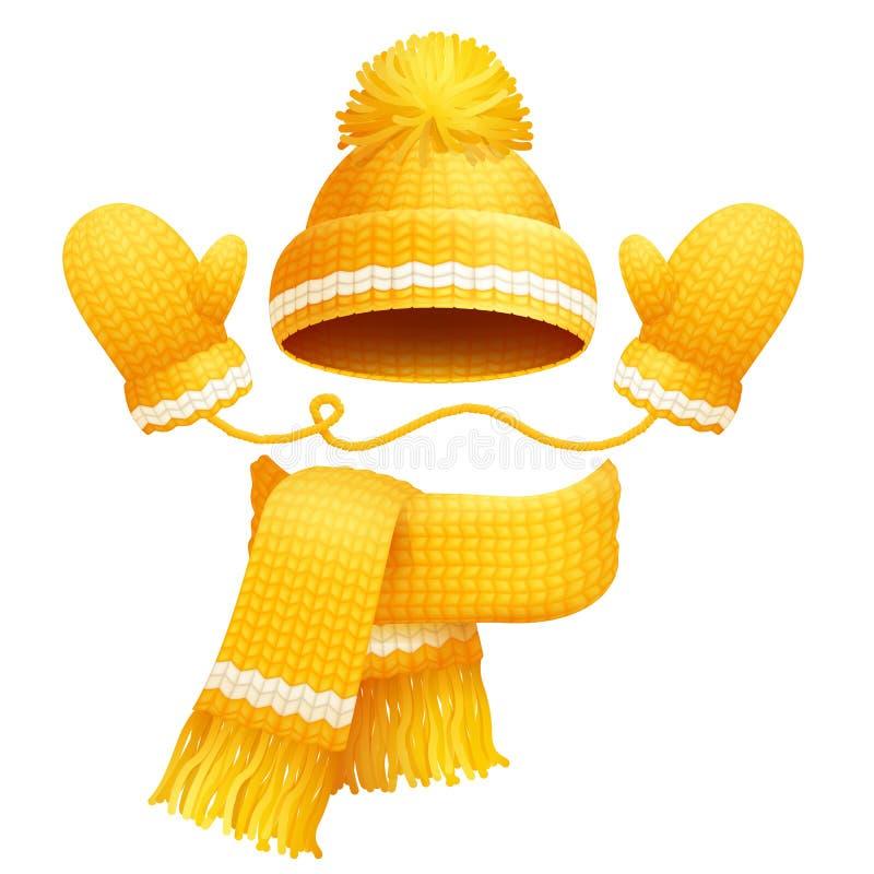 Bufanda del sombrero y ejemplo lindos del vector de los guantes stock de ilustración