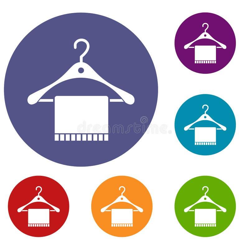 Bufanda en los iconos de la suspensión de capa fijados libre illustration