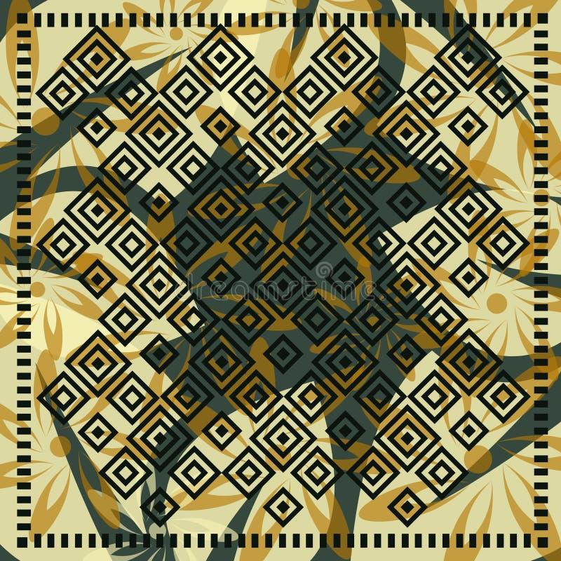Bufanda floral con motivo del mosaico ilustración del vector