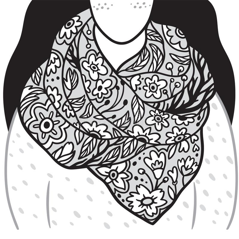 Bufanda floral en mujer joven Ejemplo blanco y negro del contorno libre illustration