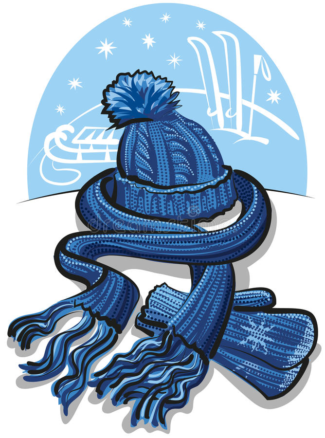 Bufanda, manoplas y sombrero de las lanas del Knit libre illustration