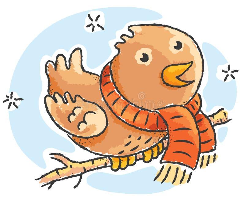 Bufanda que lleva del pájaro de la historieta en un día de invierno stock de ilustración