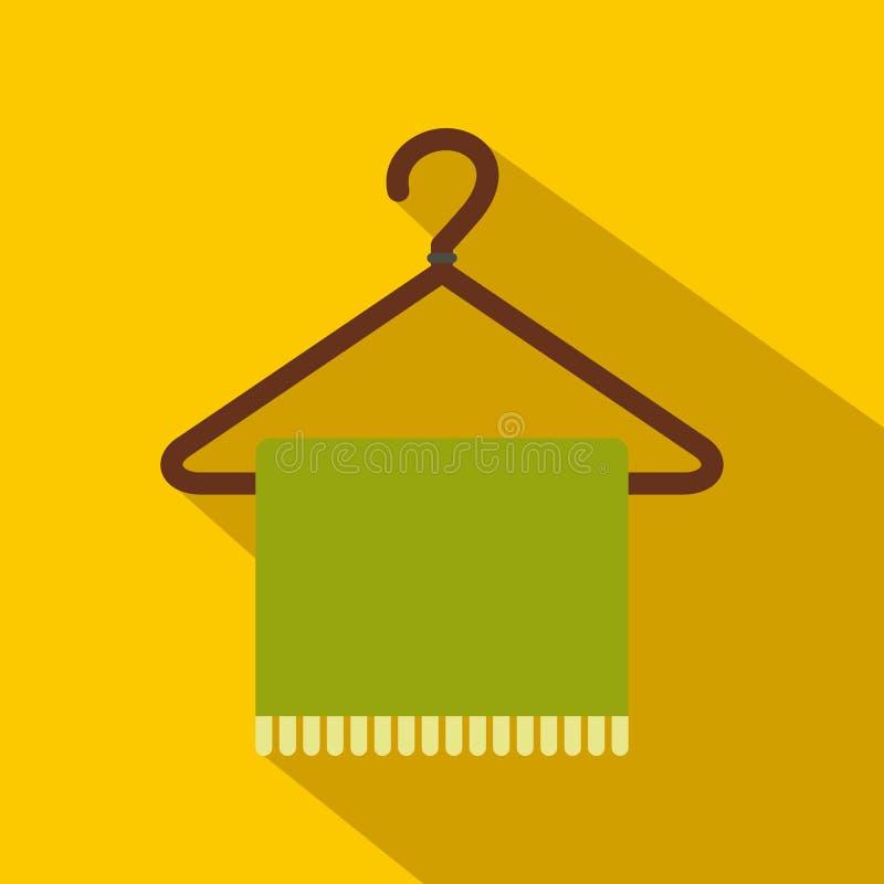 Bufanda verde en icono plano de la capa-suspensión libre illustration