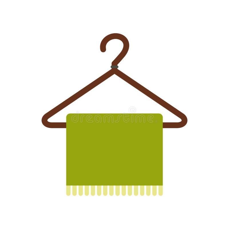Bufanda verde en icono plano de la capa-suspensión stock de ilustración