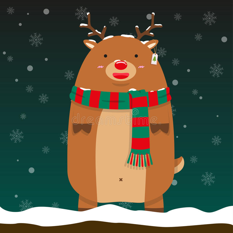 Bufanda verde y roja del reno de Rudolf del desgaste grande gordo lindo del soporte del modelo ilustración del vector