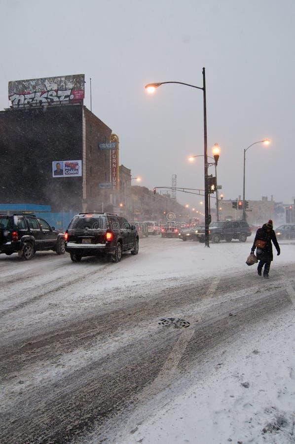 Bufera di neve di Chicago fotografie stock