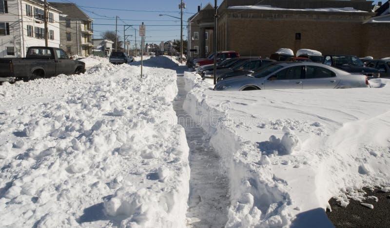 Bufera di neve nella città fotografia stock libera da diritti