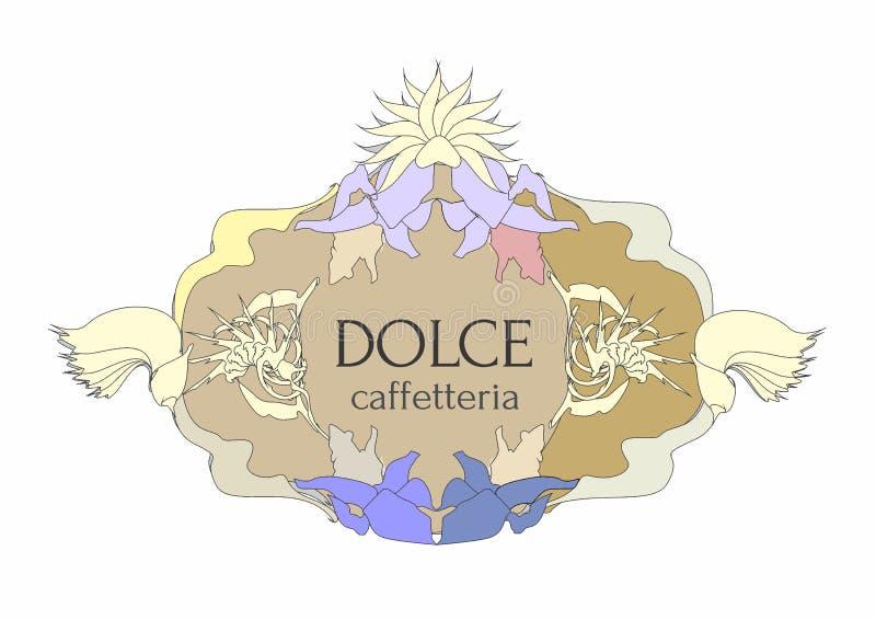 Bufet etykietka z Włoskim tekstem w retro stylu royalty ilustracja