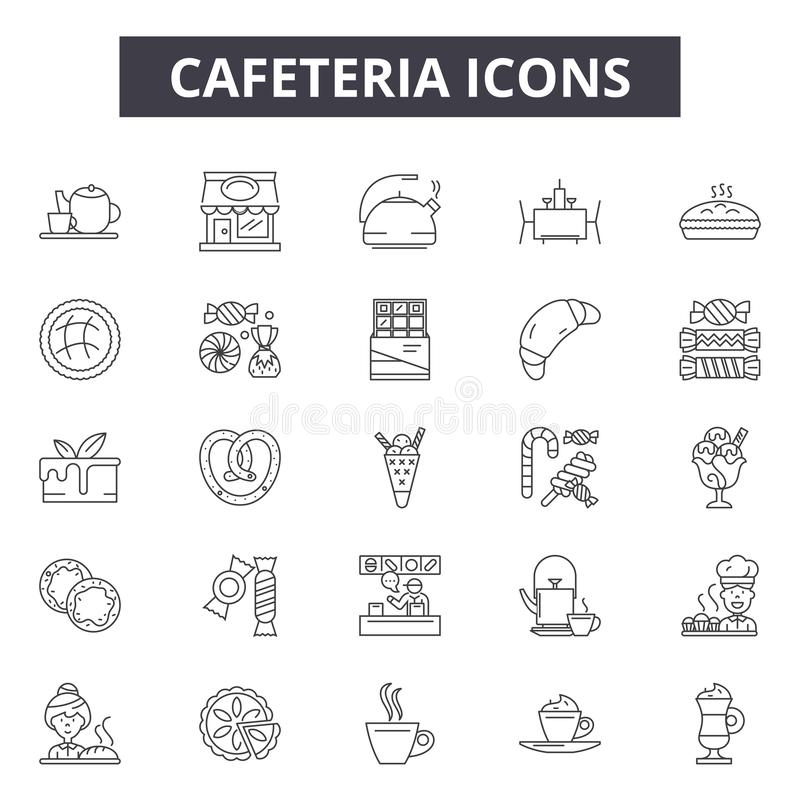 Bufet kreskowe ikony, znaki, wektoru set, kontur ilustracji pojęcie royalty ilustracja