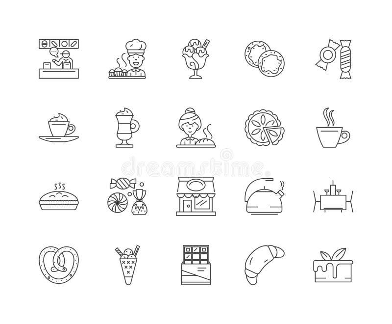 Bufet kreskowe ikony, znaki, wektoru set, kontur ilustracji poj?cie ilustracji