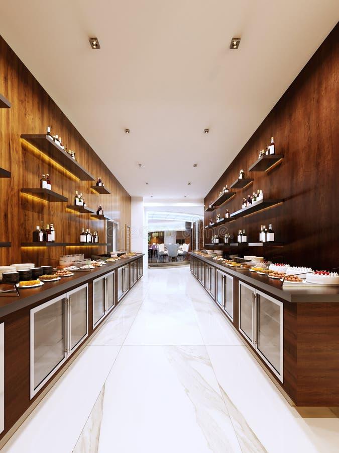 Bufet nowożytna restauracja w współczesnym stylu zimni gabinety i dekoracyjne półki z butelkami Restauracyjny projekt royalty ilustracja