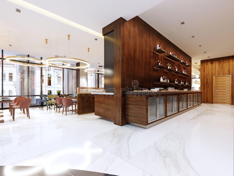 Bufet nowożytna restauracja w współczesnym stylu zimni gabinety i dekoracyjne półki z butelkami Restauracyjny projekt ilustracji