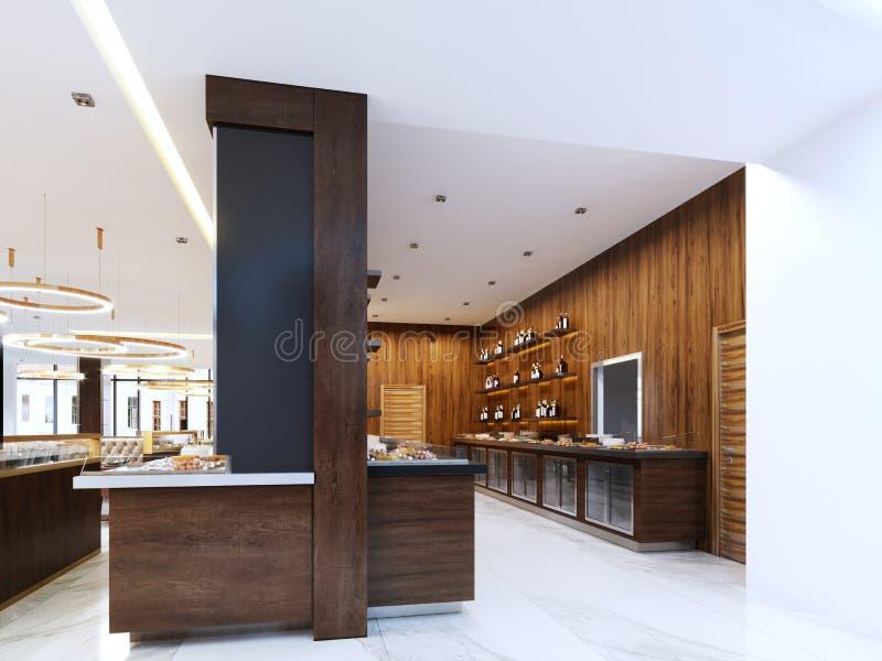 Bufet nowożytna restauracja w współczesnym stylu zimni gabinety i dekoracyjne półki z butelkami Restauracyjny projekt ilustracja wektor