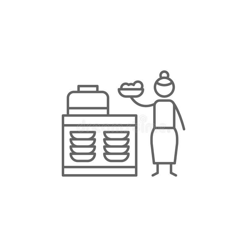 Bufet, restauracja, ludzie ikon r Cienka kreskowa ikona dla strona internetowa projekta i rozwoju, app rozw?j royalty ilustracja