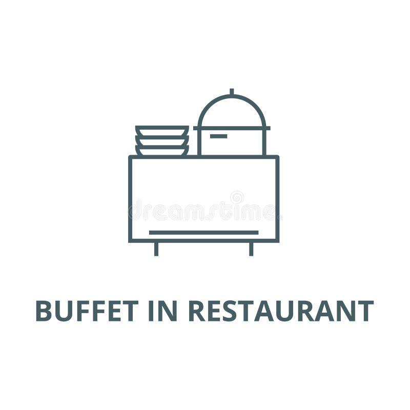 Bufet w restauracji linii ikonie, wektor Bufet w restauracyjnym konturu znaku, pojęcie symbol, płaska ilustracja ilustracja wektor