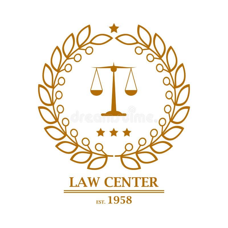 Bufete de abogados, oficina, diseño de centro del logotipo ilustración del vector