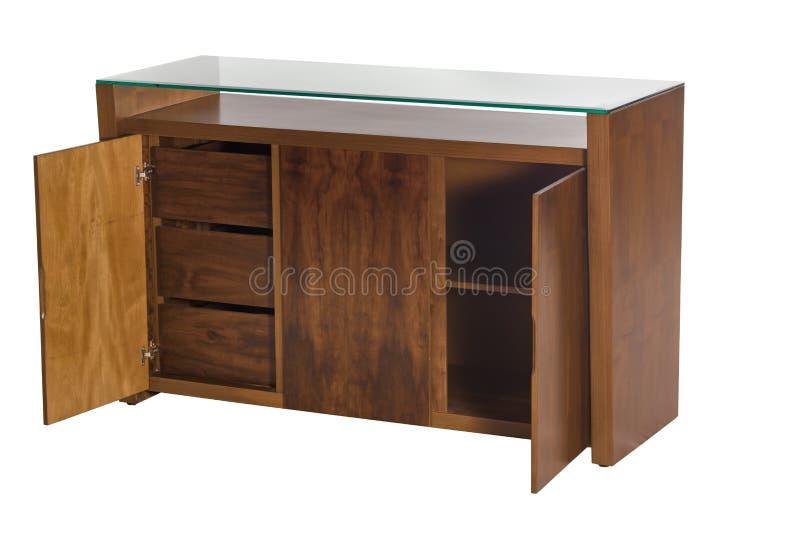 Bufete de madeira com vidro preto imagens de stock royalty free