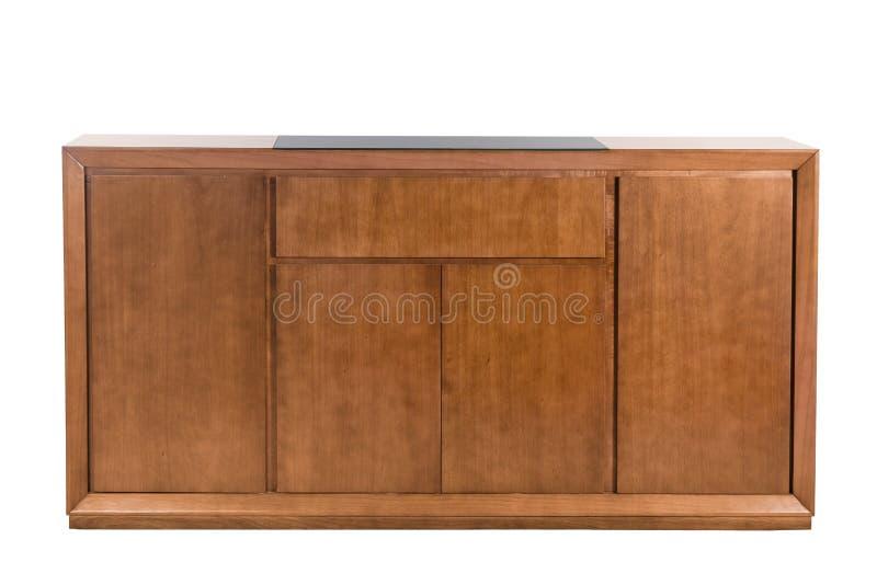 Bufete de madeira com vidro preto fotografia de stock