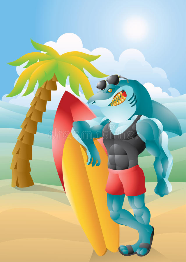 Free Buff Surfer Shark With Background Royalty Free Stock Images - 41440009