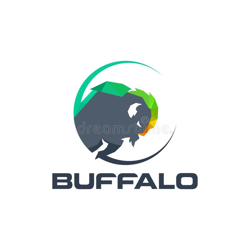 Buffalo.abstract.logo.design.buffalo head logo . colorfull buffalo logo. Buffalo logo design concept . buffalo head logo . abstract buffalo logo royalty free illustration
