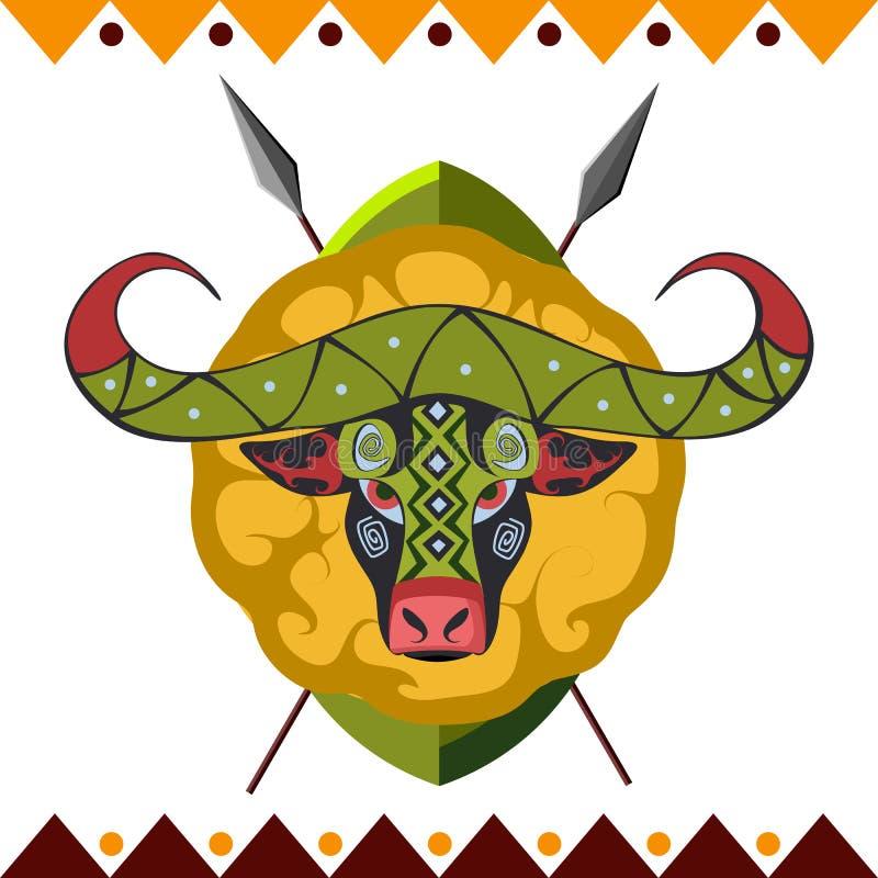 Buffalo africana L'animale dell'Africa a colori l'illustrazione di vettore del modello illustrazione vettoriale