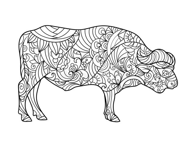 Download Buffalo Animal Coloring Book For Adults Vector Stock