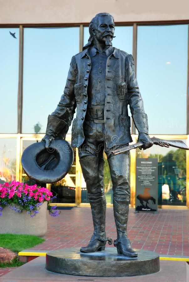 Buffalo Bill-Statue in Cody USA lizenzfreie stockbilder
