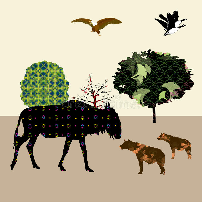 Buffalo and hyenas. Is a collage for children vector illustration