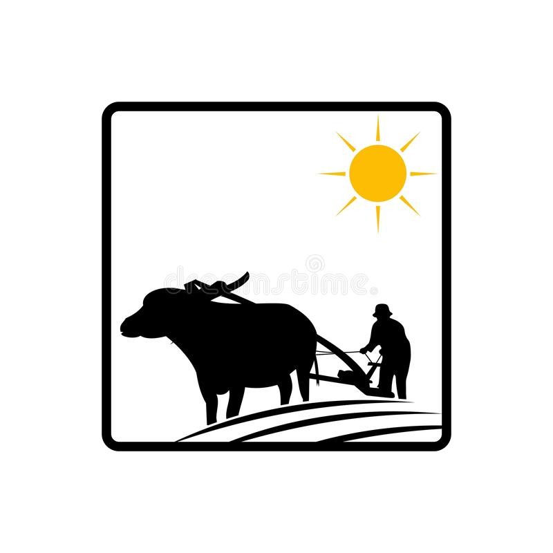 Buffalo logo template, design concept vector illustration. Agriculture, brand, business, care, company, eco, family, farm, farmer, field, food, fresh, garden stock illustration